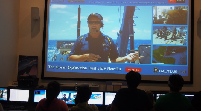 Dwight Coleman gives a presentation to ISC from aboard E/V Nautilus.