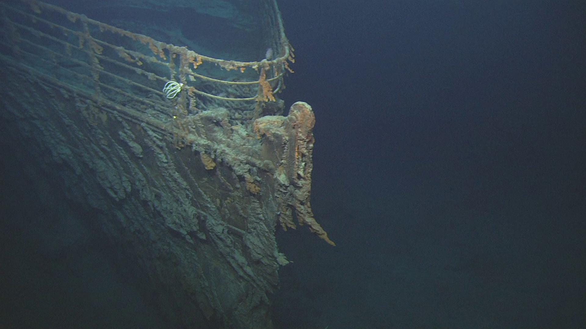 Titanic's bow under the North Atlantic Ocean.